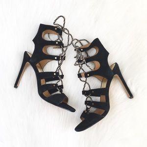 Dolce Vita | black suede gladiator laceup heels